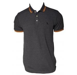 Camisa gola polo RESERVA grafite com friso laranja