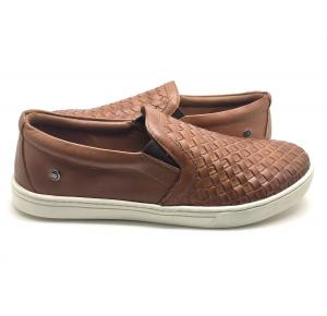 Sapatênis Dom Shoes Slip On Trançado em Couro