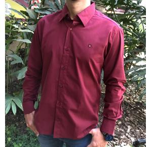 Camisa manga longa Classic men's club vermelho bordô