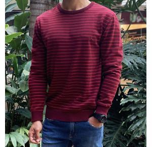 Suéter reserva listrado vermelho